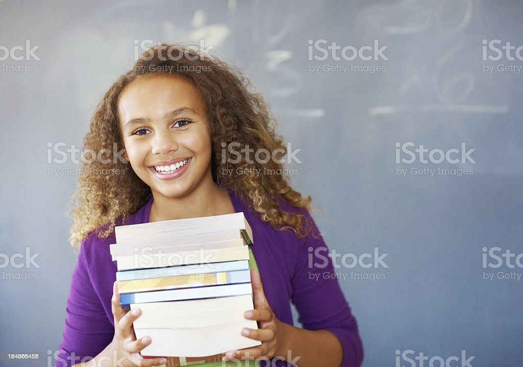 School girl with books royalty-free stock photo
