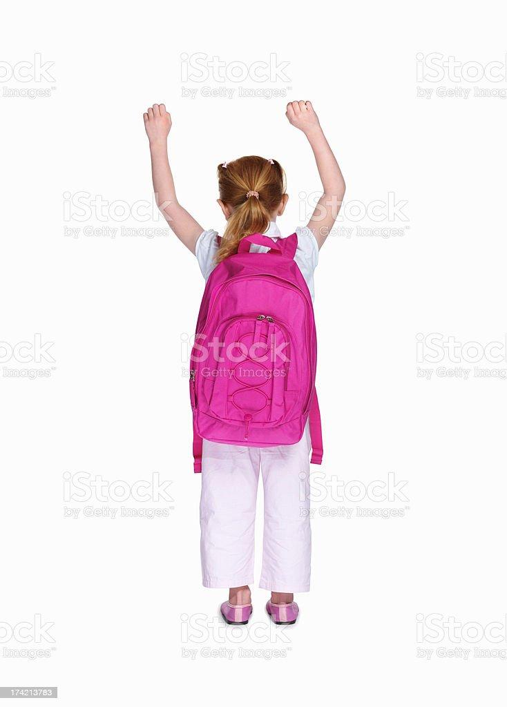 Szkoły Dziewczyna z Różowe plecak na białym tle – zdjęcie