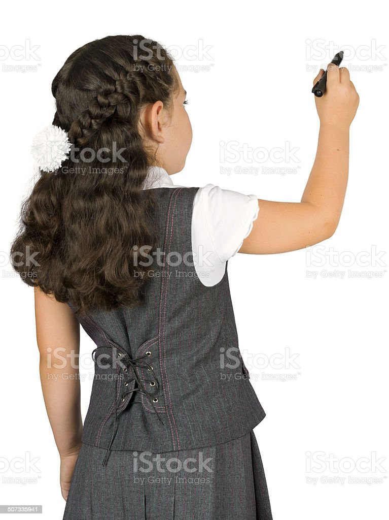 School girl writing with marker on white, rear view stock photo