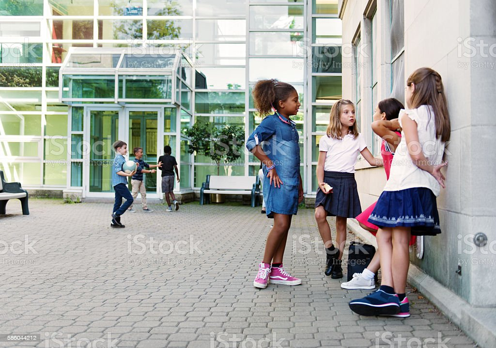 School girls at Break - foto de acervo