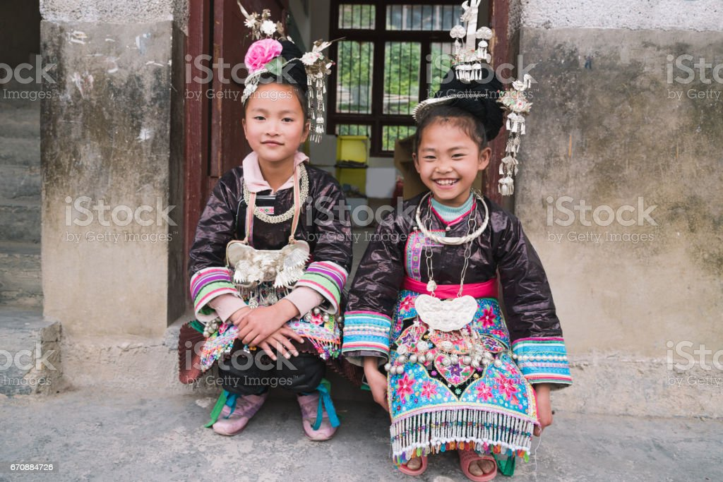 School Girls Dong People Huanggang China stock photo