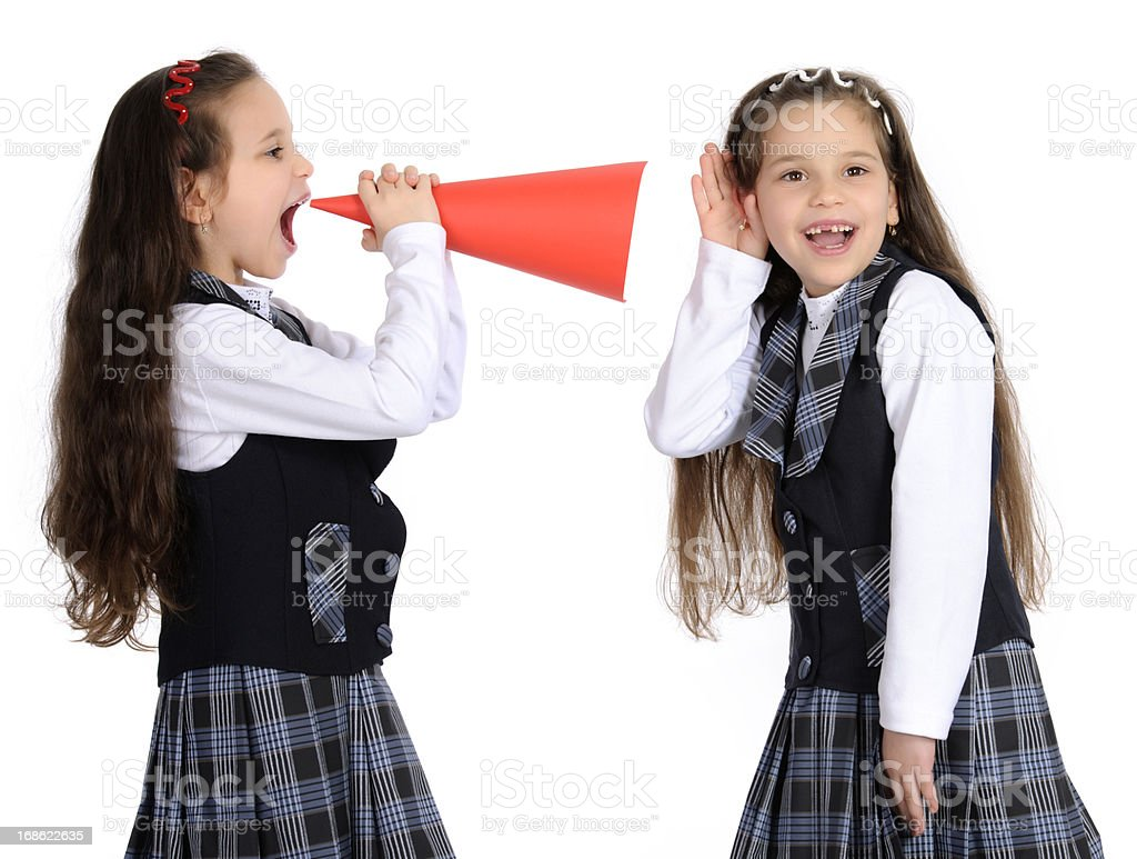 school girls with megaphone royalty-free stock photo