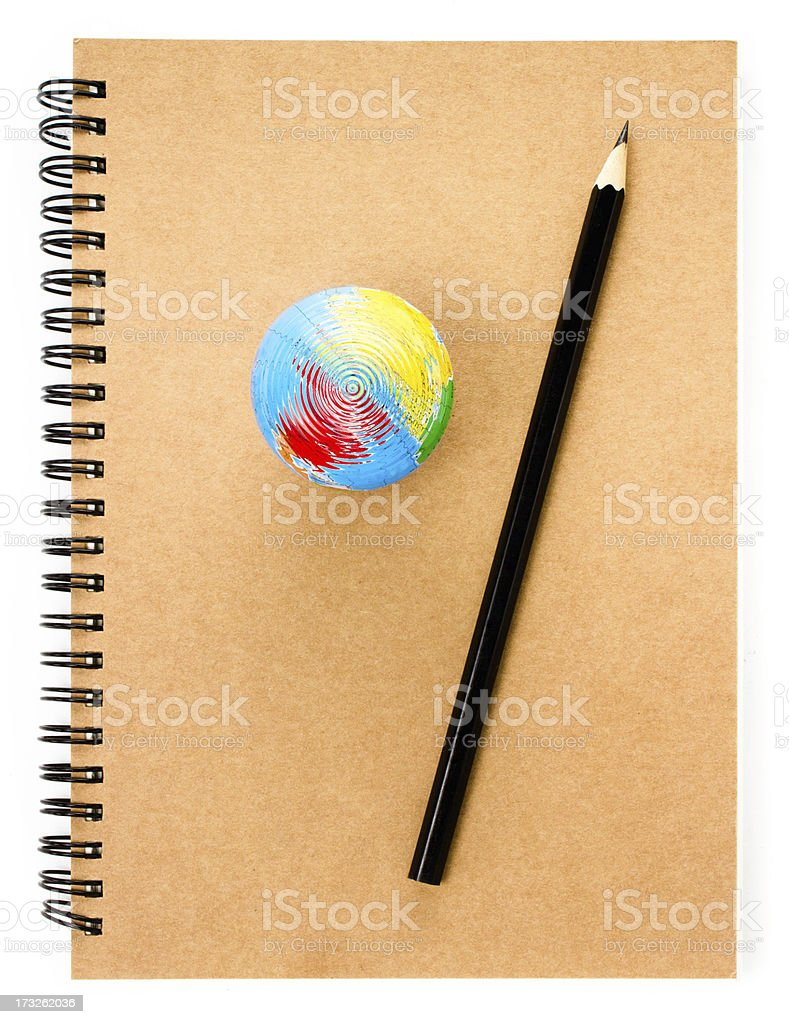 School Globe and recycle craft  notebook  on white background. royalty-free stock photo