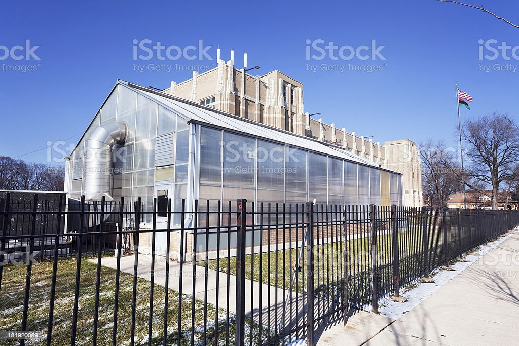 School Greenhouse in Chatham, Chicago royalty-free stock photo