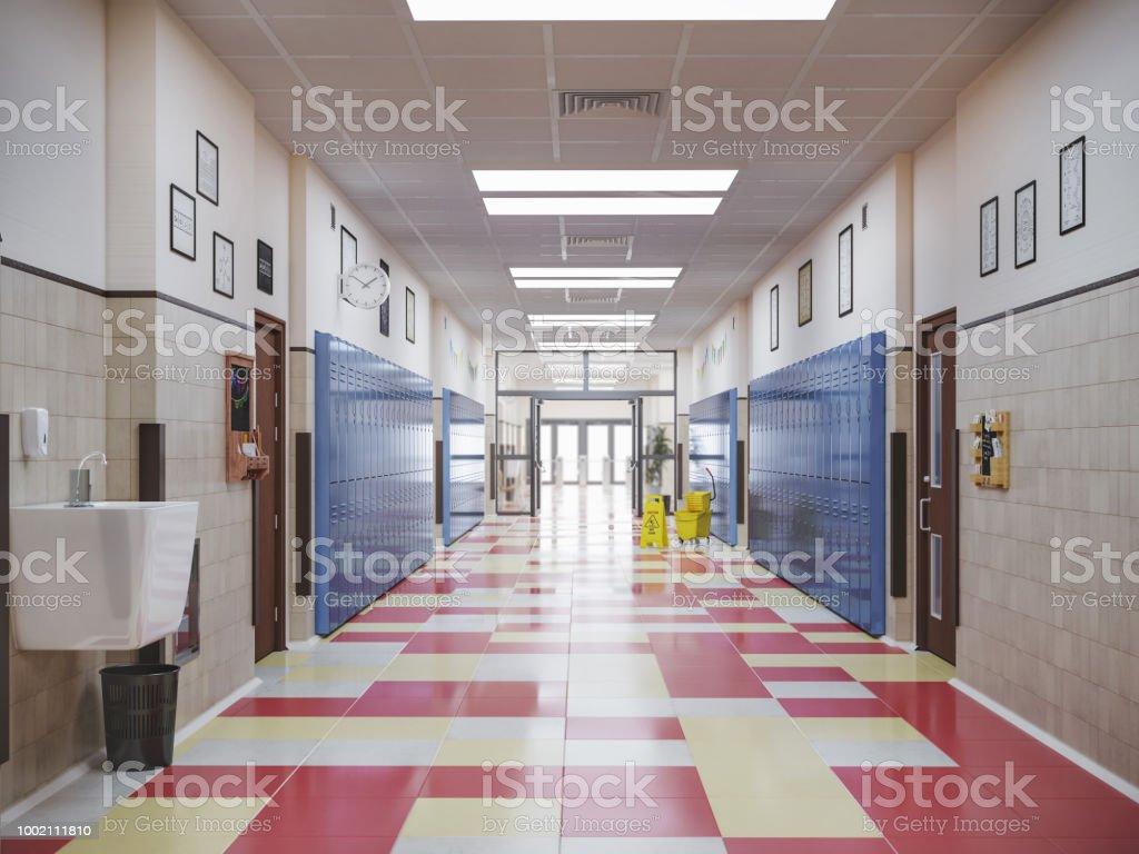 illustration 3d intérieur du School-couloir photo libre de droits