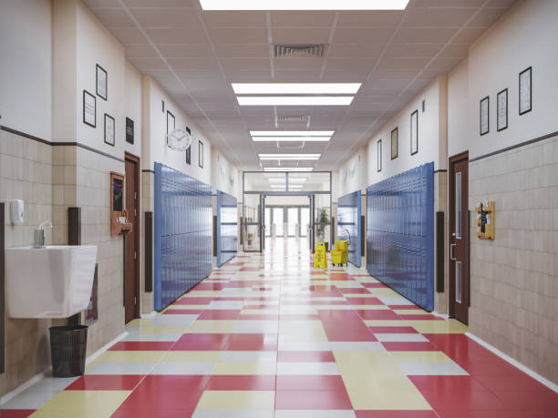 school hallway interior 3d illustration - corridor stock photos and pictures