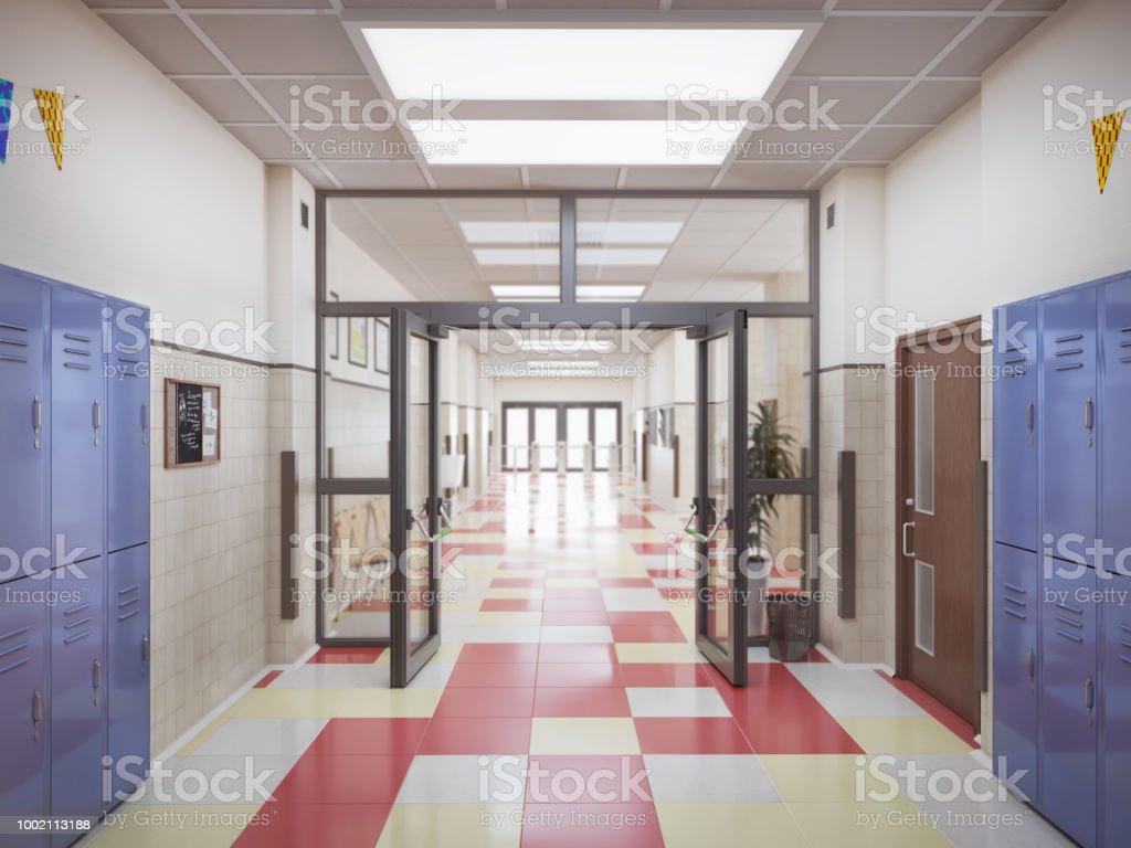 school hallway interior 3d illustration royalty-free stock photo