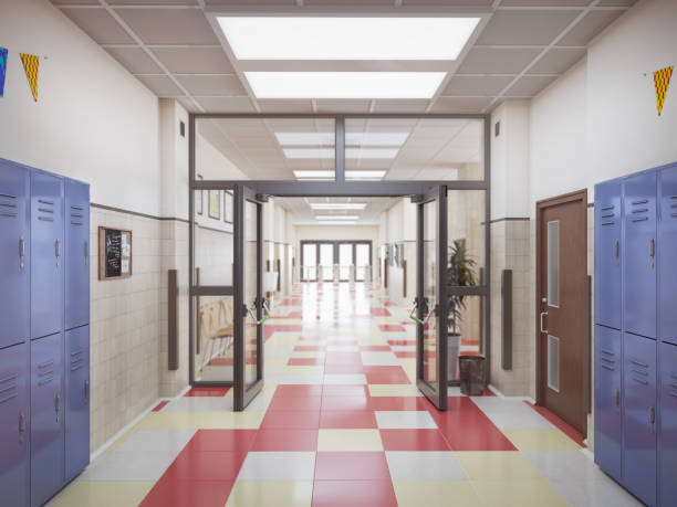 school hallway interior 3d illustration - school building stock photos and pictures