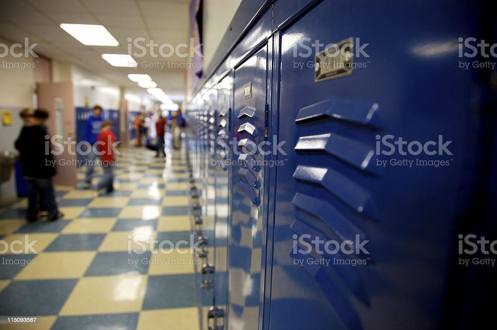 school hallway lockers stock photo