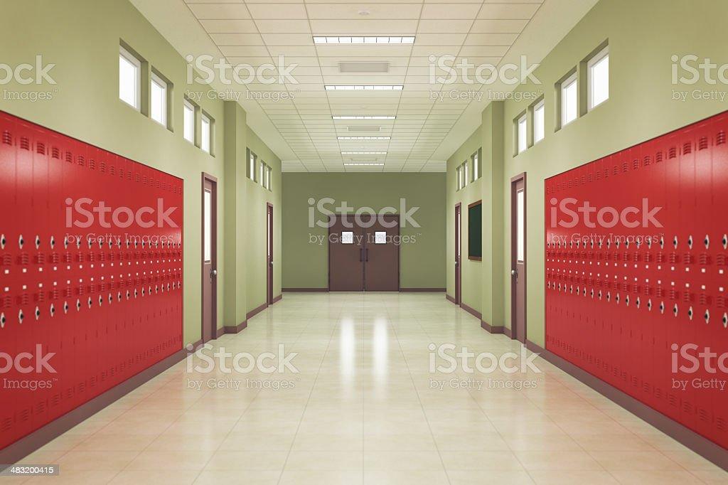 School Hallway stock photo
