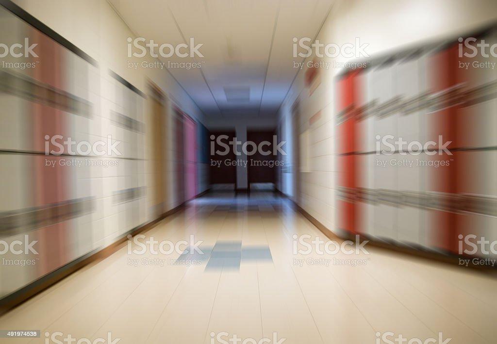 School Hallway With Lockers Open Doors At The End Zoom Stock Photo Download Image Now Istock