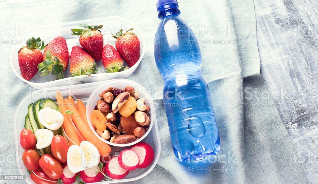 School healthy lunch box. stock photo