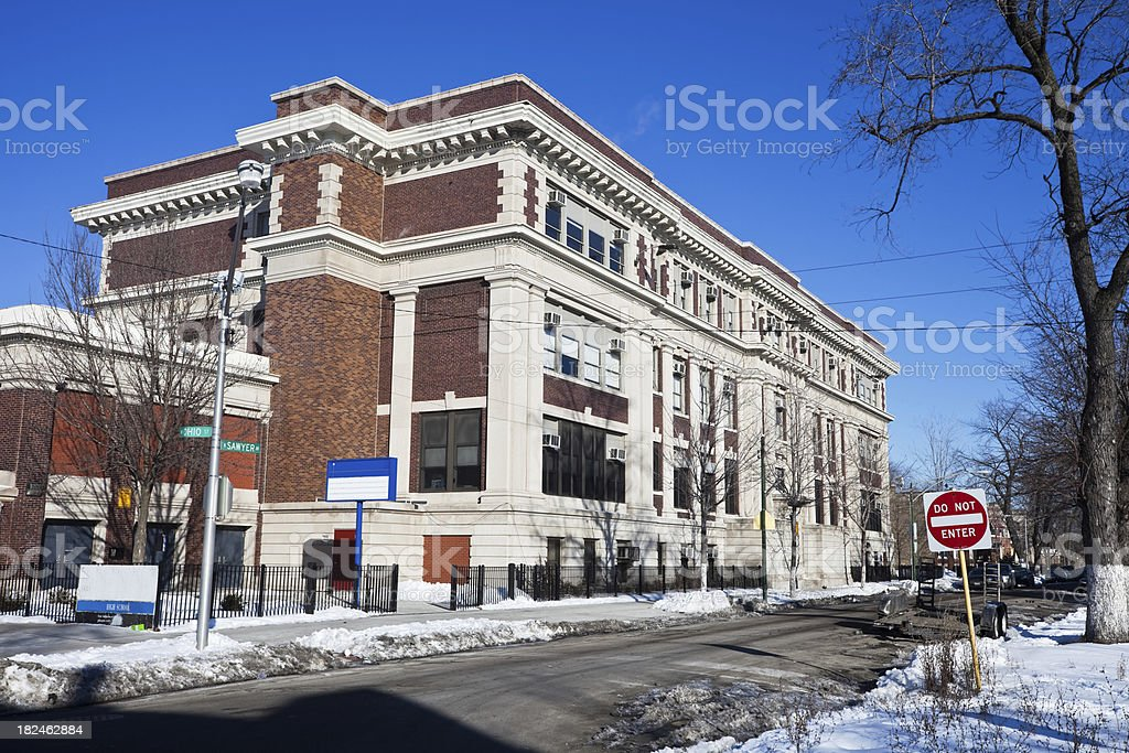 School in Humboldt Park, Chicago royalty-free stock photo