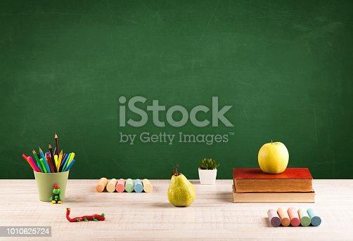 istock School items on desk with empty chalkboard 1010625724