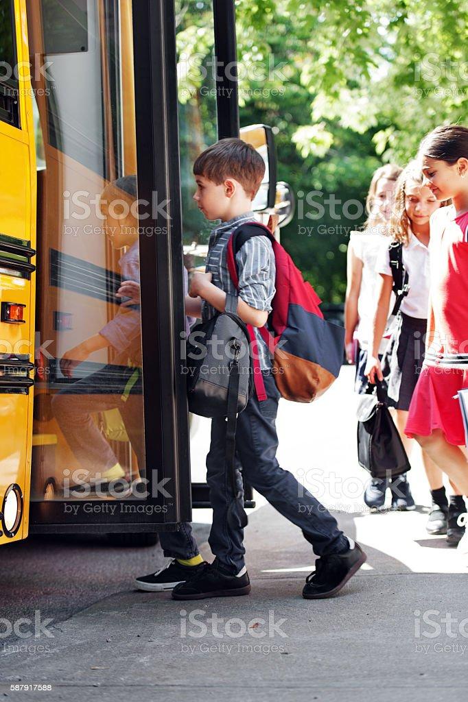 School kid going to school stock photo