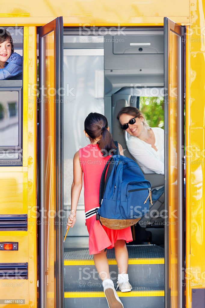 School kids going back to school stock photo