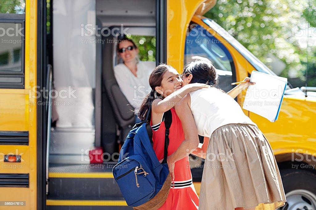 School kids going back to school stock photo