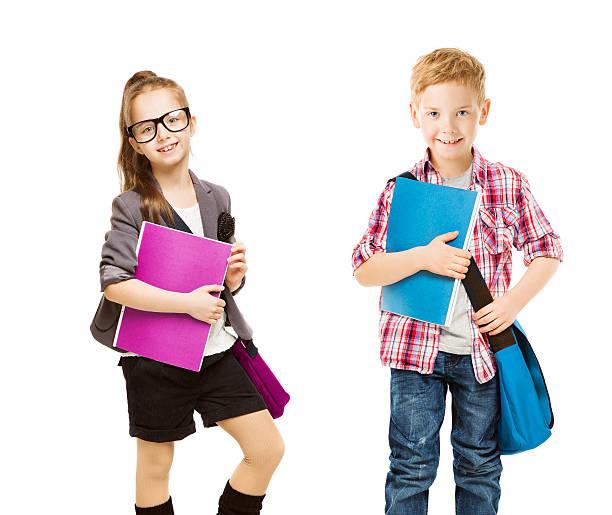 school uniform kids-gruppe, kinder, kleine mädchen und junge, ordner weiß - liebeskind umhängetasche stock-fotos und bilder