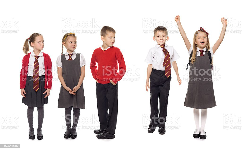 School Kids In A Row, Studio Isolated royalty-free stock photo