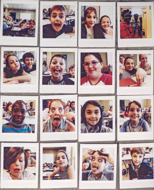 School kids instant portraits stock photo