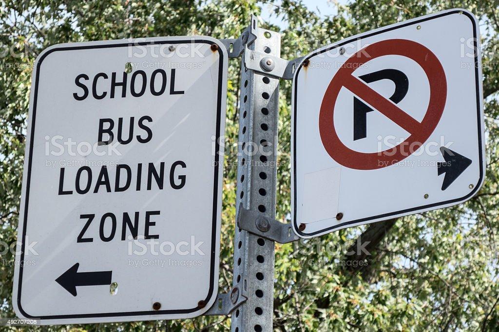 School Loading Zone stock photo