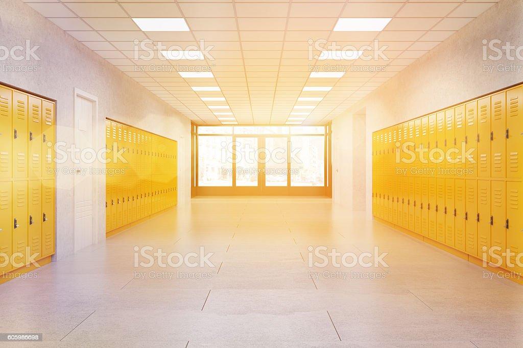 School lobby with yellow lockers - foto de acervo