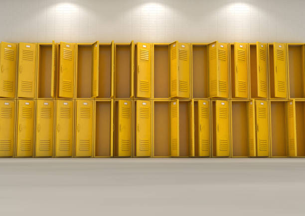 School Lockers Open A flat look at a well lit stack of open empty yellow lockers in a school hallway - 3D render arbitrary stock pictures, royalty-free photos & images