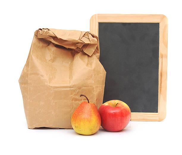 school lunch and blank blackboard stock photo