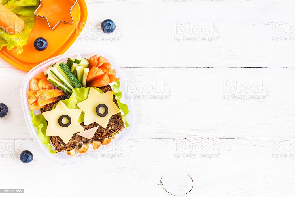 School lunch box for kids. Top view, flat lay stock photo
