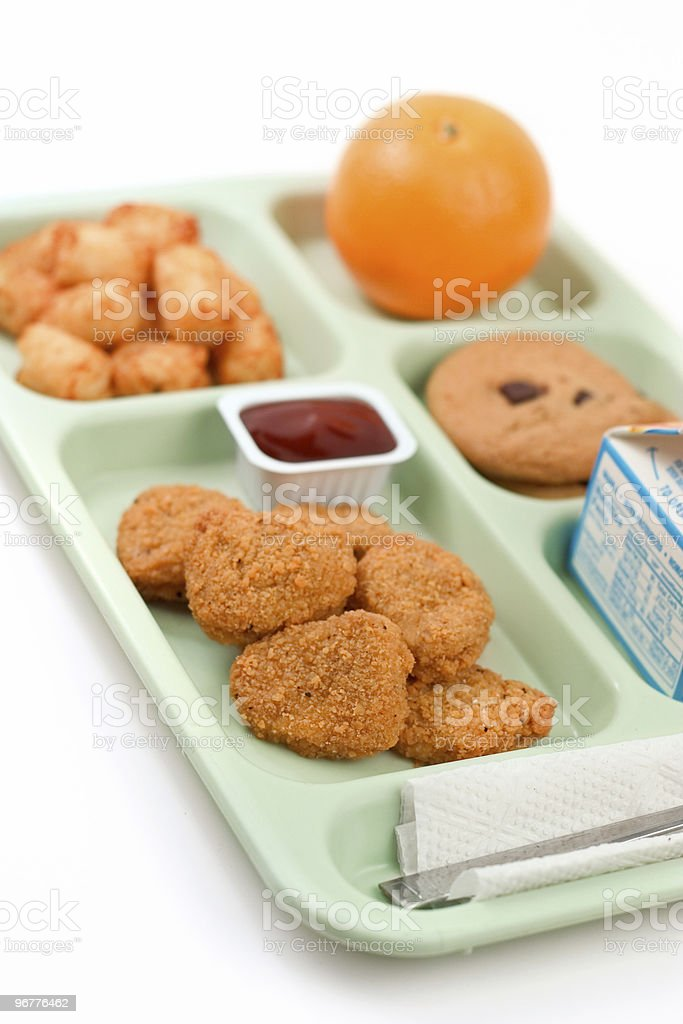 School Lunch - Chicken Nuggets royalty-free stock photo