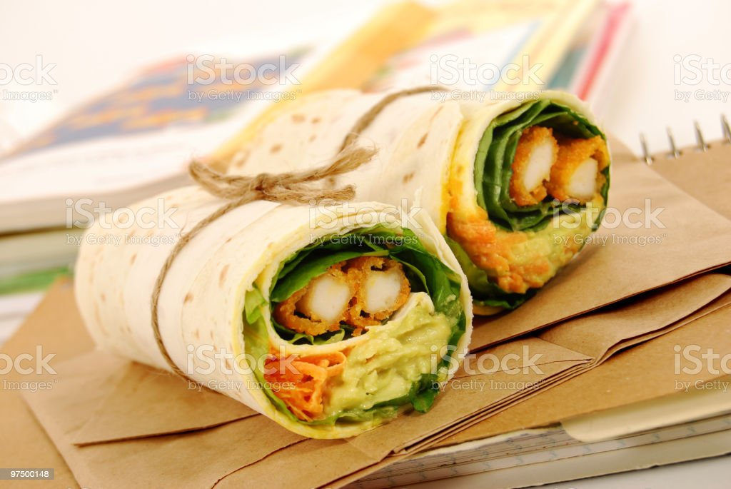 School lunch series: chicken wrap sandwich royalty-free stock photo