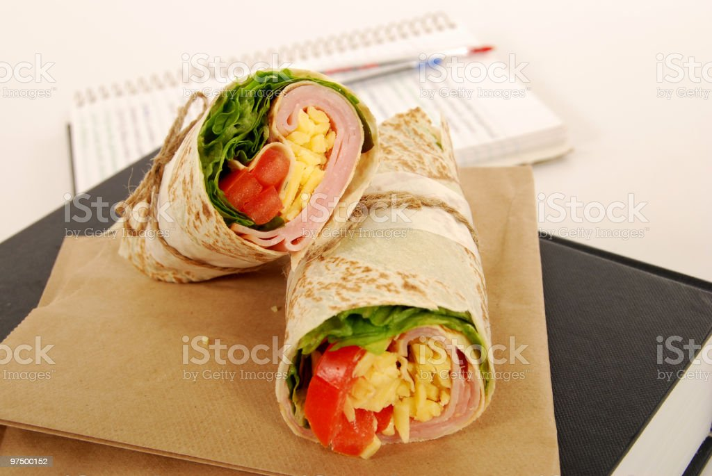 School lunch series: ham & cheese wrap sandwich royalty-free stock photo
