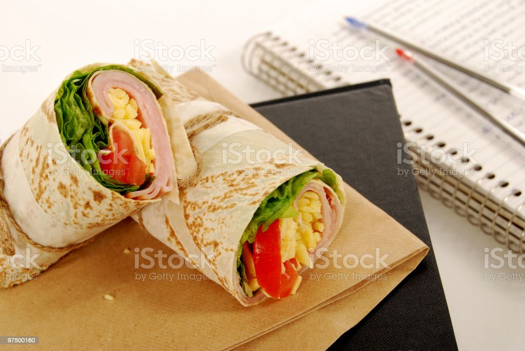 School lunch series: ham & cheese wrap sandwich royalty-free stock photo