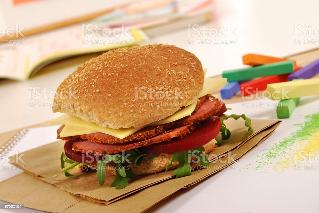 School lunch series: pastrami wholemeal roll sandwich royalty-free stock photo
