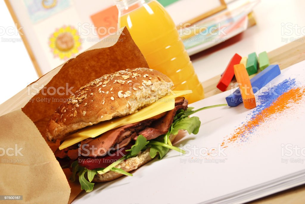 School lunch series: roast beef multigrain roll sandwich royalty-free stock photo