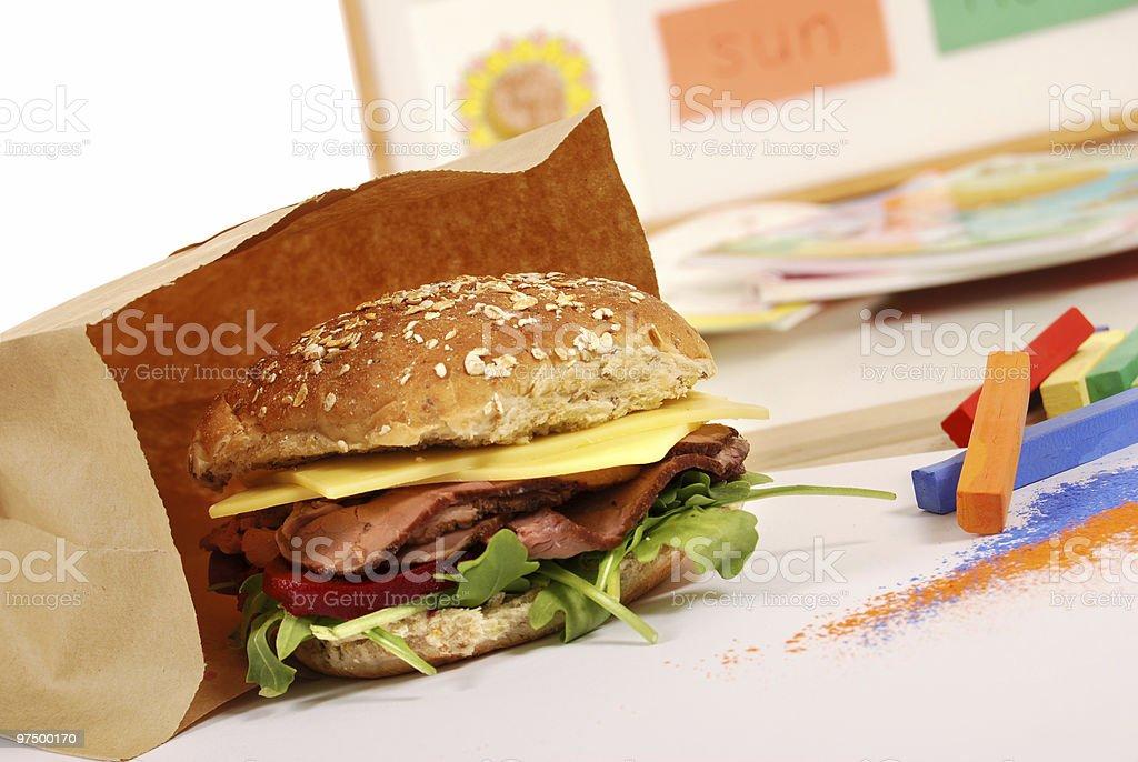 School lunch series: roast beef multigrain roll sandwich royalty-free stock photo