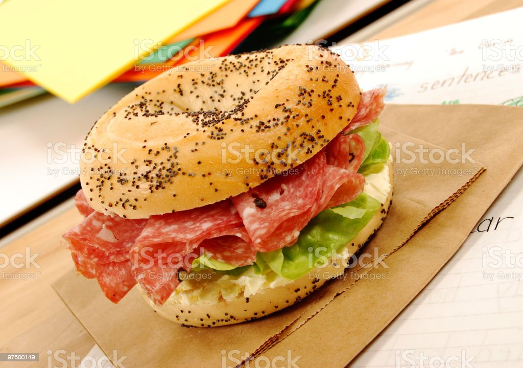 School lunch series: salami bagel sandwich royalty-free stock photo