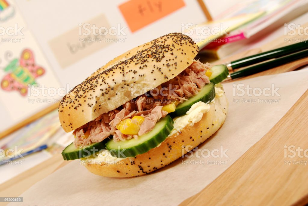 School lunch series: tuna bagel sandwich royalty-free stock photo