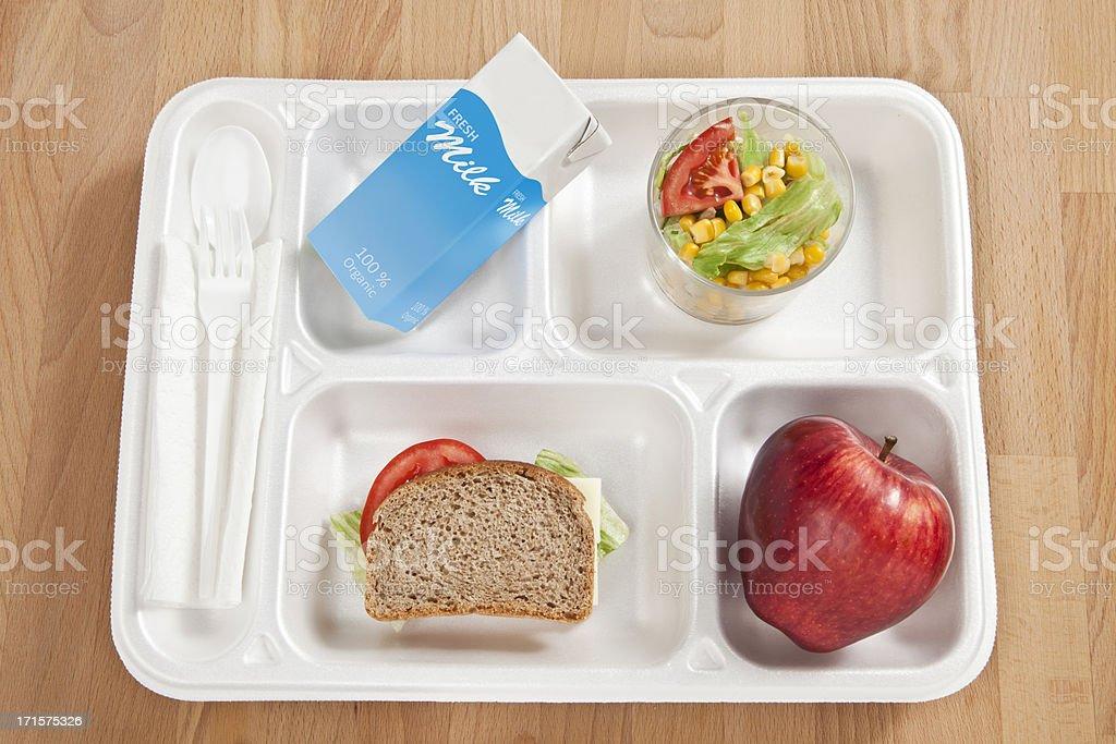 School lunch tray stock photo