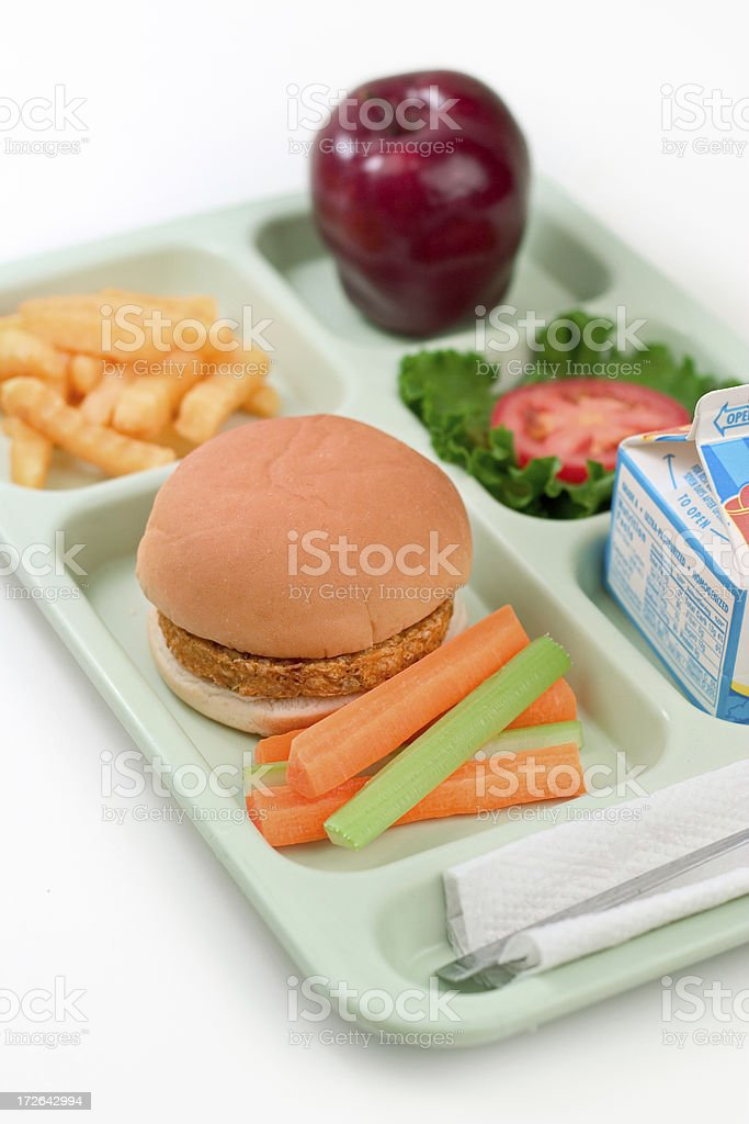 School Lunch - Veggie Burger stock photo