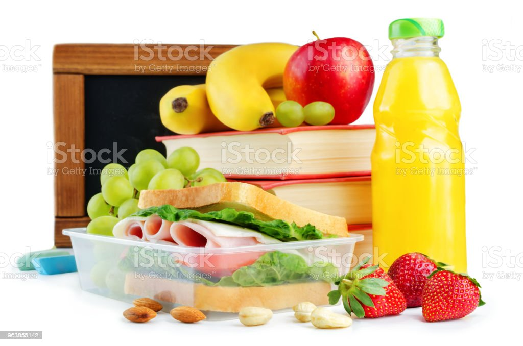 school lunch with a sandwich, fresh fruits and juice - Royalty-free Almond Stock Photo