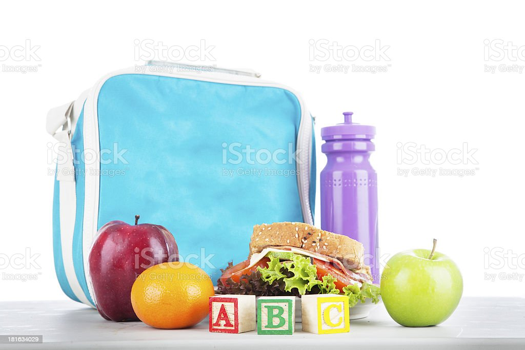 School lunch with alphabet blocks stock photo