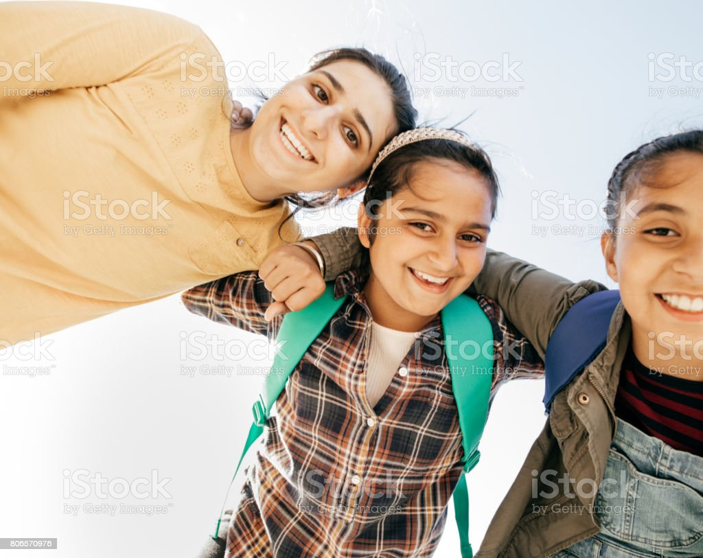 School moments and friends stock photo