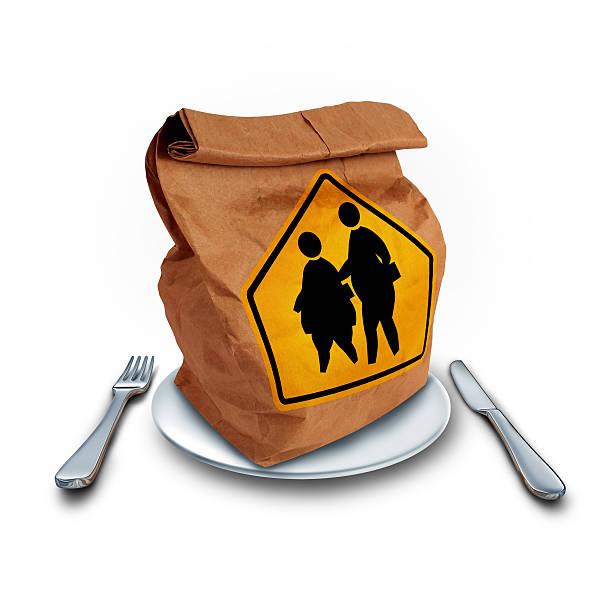 school fettleibigkeit ernährung - mittagspause schild stock-fotos und bilder