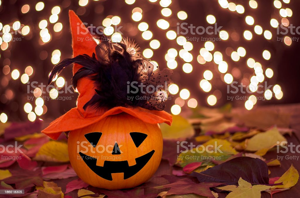 School of pumpkins witches. royalty-free stock photo