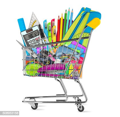 istock school / office supplies in shopping cart 508953158