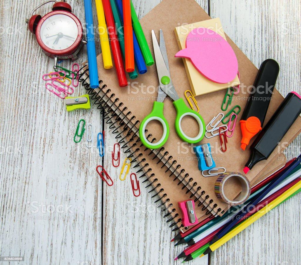 school office supplies - foto stock