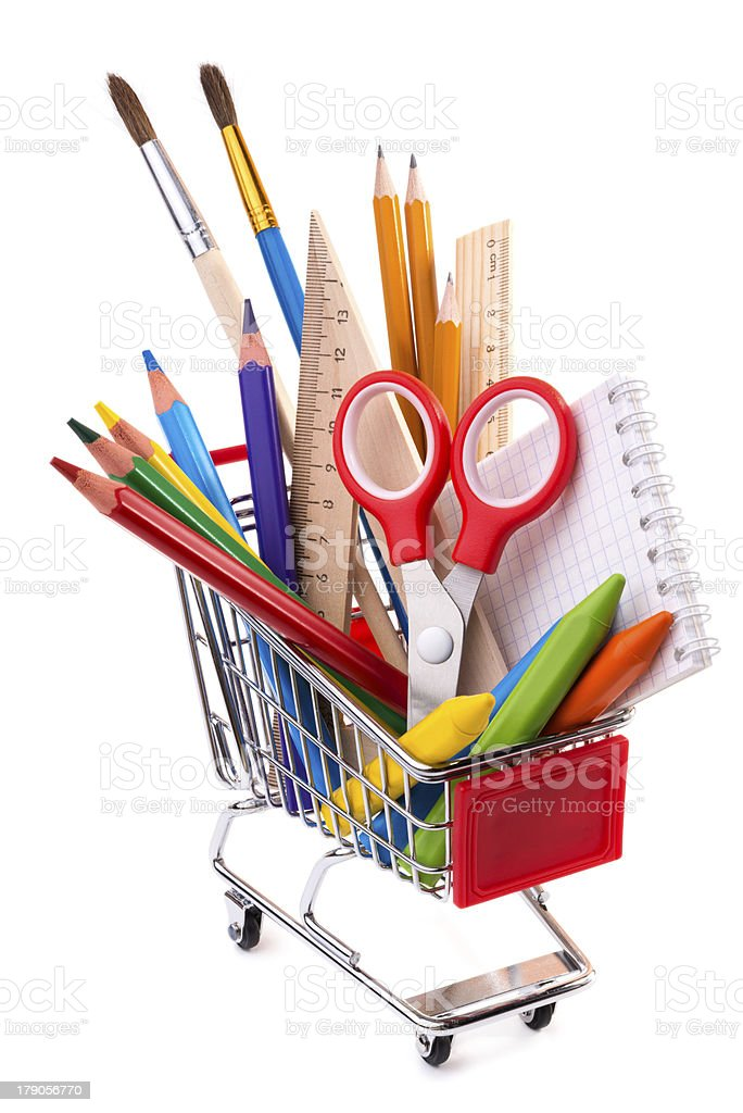 School or office supplies, drawing tools in a shopping cart stock photo