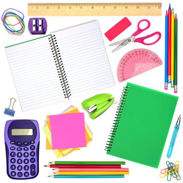学校やオフィス備品を個別に白で分離 - 学校の文房具 ストックフォトと画像
