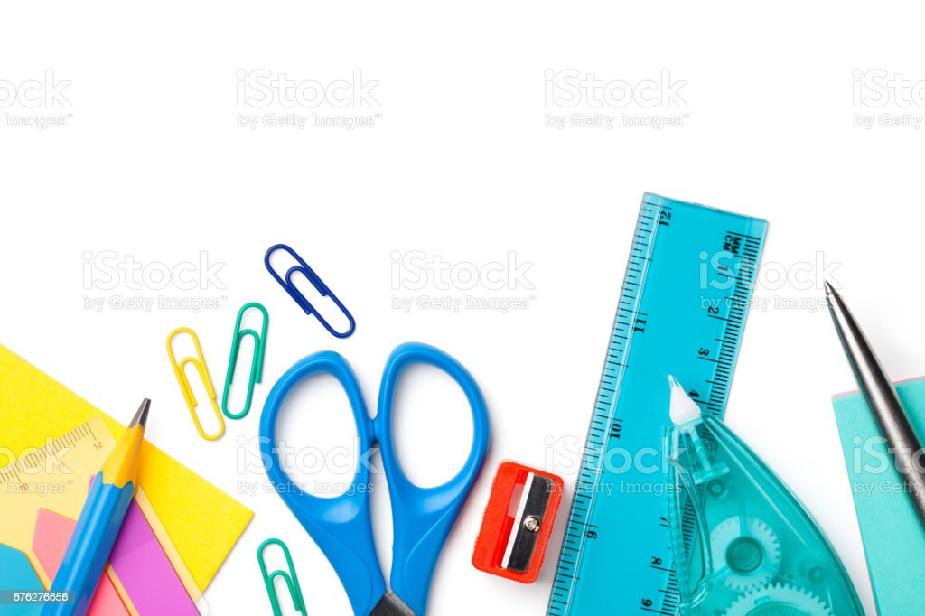 School or Office Supplies Isolated on White Background stock photo